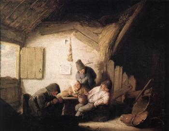 Adriaen Jansz Van Ostade : Village Tavern with Four Figures